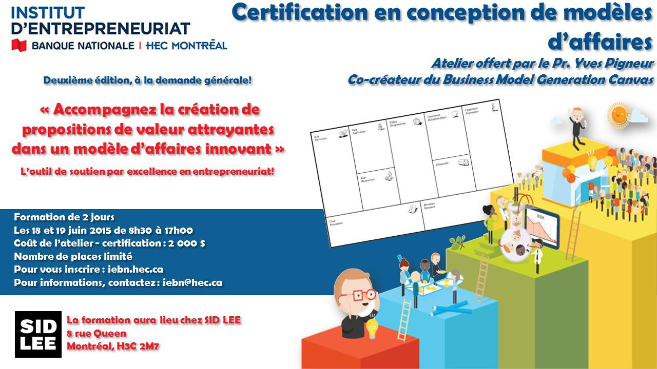 Atelier-certification en conception de modèles d'affaires 18-19 juin 2015